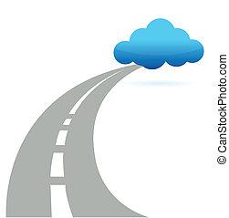 út, felhő, kiszámít