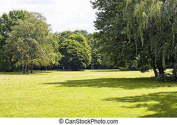 út, gyalogló, column., tiergarten, család, &, kellemességek, fű, bitófák, liget, mező, beleértve, berlin., nagy, öreg, kilátás, diadal