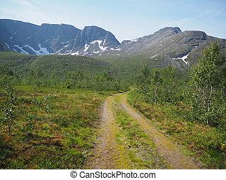 út, hegyek