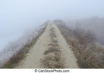 út, köd, koszos, horizont