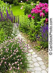 út, kert, virágzó