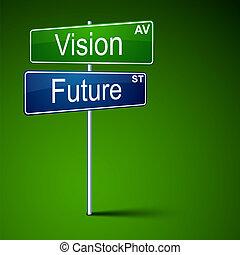út, látomás, cégtábla., irány, jövő