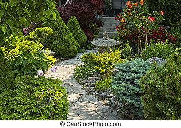 út, megkövez kert, parkosít