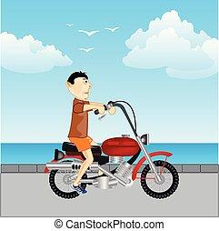 út, motorkerékpár, ember