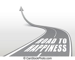 út, szavak, autóút, boldogság