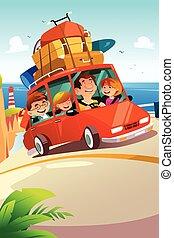út, utazó, család út