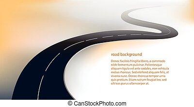 út, vektor, háttér, autóút, vagy