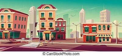 út, vektor, város, ábra, utca, művek