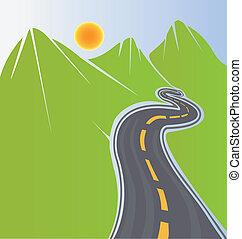 út, zöld hegy