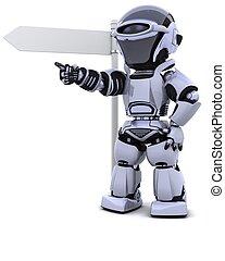 útjelző tábla, robot