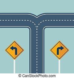útkereszteződés, irány, fordít, út, irány, cégtábla.