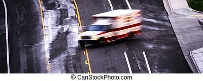 úttest, életlen, mentőautó, gyorshajtás, lefelé