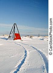 útvonal, autó, hó