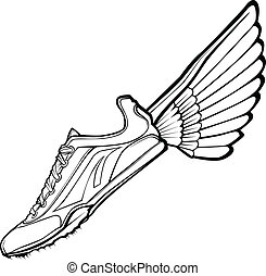 útvonal, illustr, vektor, cipő, szárny