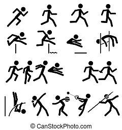 útvonal, mező sport, pictogram