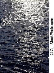 útvonal, nap, felszín, víz csobog, tenger