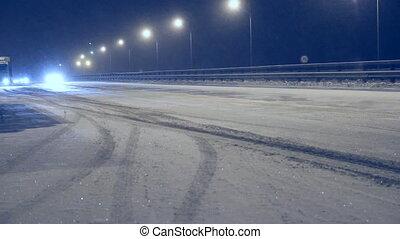 útvonal, tél, éjszaka