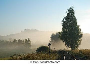 útvonal, vidéki táj, vasút, üres, ködös
