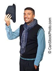 üdvözöl, modern, ember, kalap, el