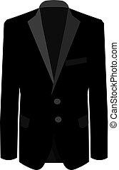ügy ábra, ügy, illeszt, háttér., suit., vektor, black öltöny, fehér, mens, ember