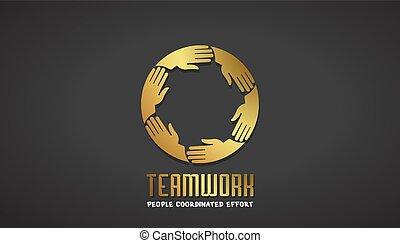 ügy, arany, csapatmunka, tervezés, kézbesít, jel