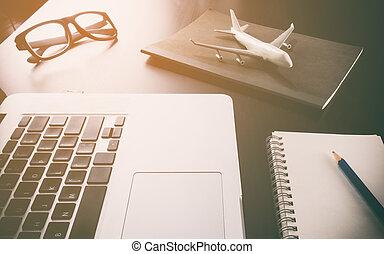 ügy, dolgozó, utazás ügynökség, számítógép, íróasztal