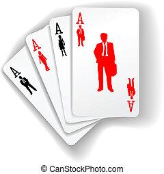 ügy emberek, díszkíséretek, kártya, játék, erőforrás