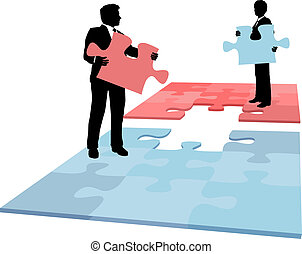 ügy emberek, fúzió, együttműködés, oldás, darab, rejtvény