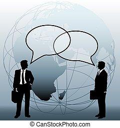 ügy emberek, globális, összekapcsol, befog, panama, beszél