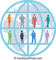 ügy emberek, globális, befog, világ, erőforrás
