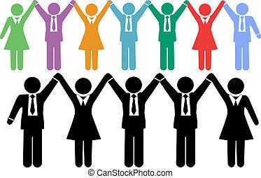 ügy emberek, jelkép, hatalom kezezés, ünnepel