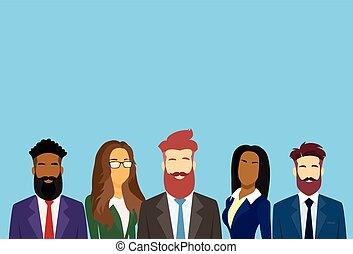 ügy emberek, különböző, csoport, businesspeople, befog