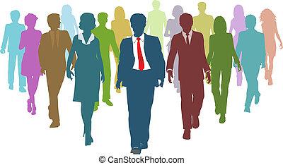 ügy emberek, különböző, emberi, sportcsapat vezető, erőforrás