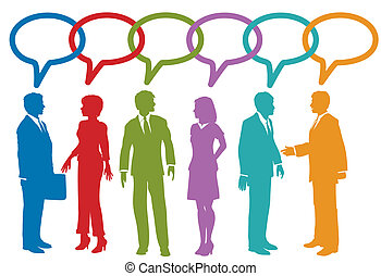 ügy emberek, média, beszéd, társadalmi, buborék, beszél