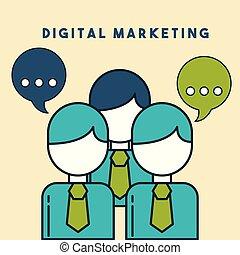 ügy emberek, marketing, beszéd, digitális, buborék