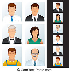 ügy emberek, set., ikonok, különféle, peoples.