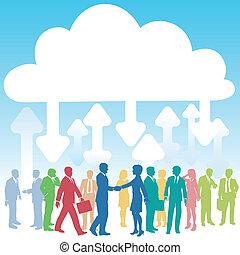 ügy emberek, társaság, kiszámít, azt, felhő