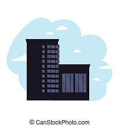 ügy, fekete, modern, középcsatár, ikon, vektor, épület.
