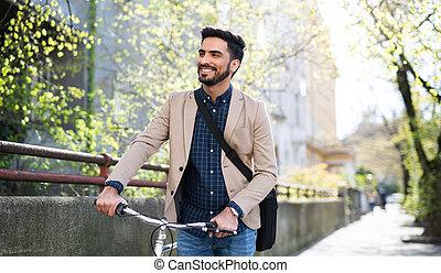 ügy, fiatal, haladó, bicikli, munka, city., ember, ingázó, szabadban