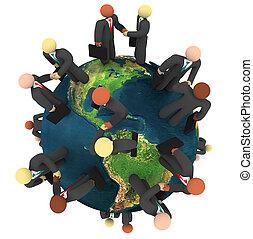 ügy, globális, -, ad, handshakes, nemzetközi