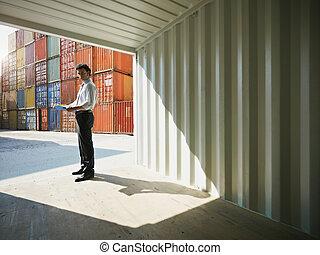 ügy, hajózás, tároló, ember