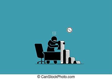 ügy, hivatal., lista, hosszú, személy, dolgozat, birtok