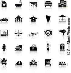 ügy icons, kifejez, háttér, vendégszeretet, fehér