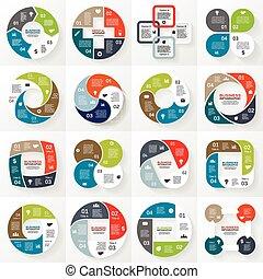 ügy, infographic, ábra, 4, karika, opciók