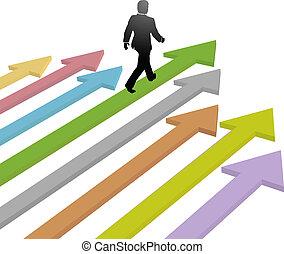 ügy, jövő, nyíl, jár, előrehalad, vezető