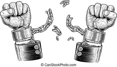 ügy kezezés, bilincsbe ver, törő, bilincs