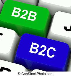 ügy, kulcsok, b2c, összeköttetés, b2b, jelentés, fogyasztó, vagy, kereskedelmi társaság