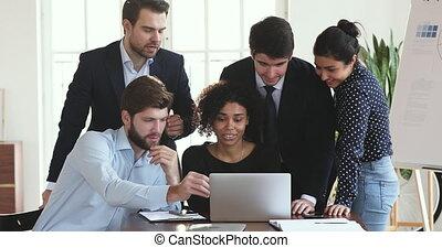 ügy, laptop, dolgozó, profi, befog, beszéd, együtt, multiethnic