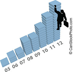 ügy, mászik, feláll, diagram, értékesítések, adatok, ember