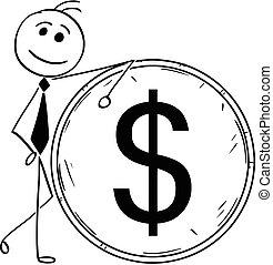 ügy, nagy, dollár, ábra, karikatúra, érme, ember, vonzalom, mosolygós